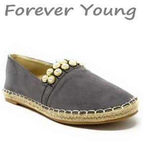 Women Espadrille Beaded Flats, E-2610, Grey